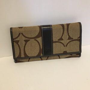 Coach khaki and brown wallet